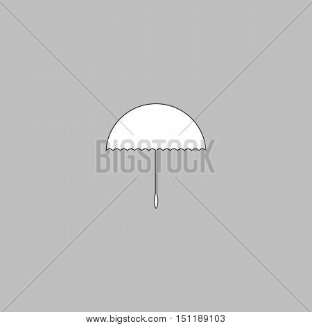 bumbershoot Simple line vector button. Thin line illustration icon. White outline symbol on grey background