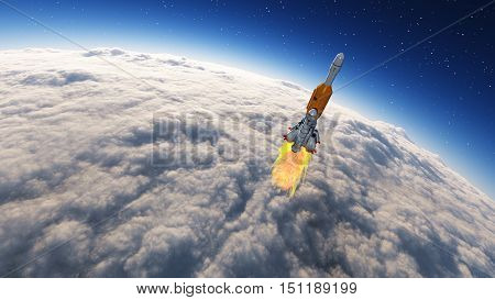 Rocket launched into the space leaving the earth earth covered by clouds. This is a 3d render illustration