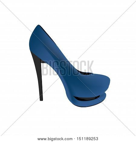 Blue shoes with high heels. Vector illustration