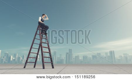 Man sitting on a ladder and look in the distance near the city. This is a 3d render illustration