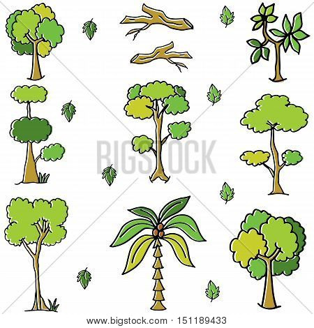 Green tree and leaf doodles vector art