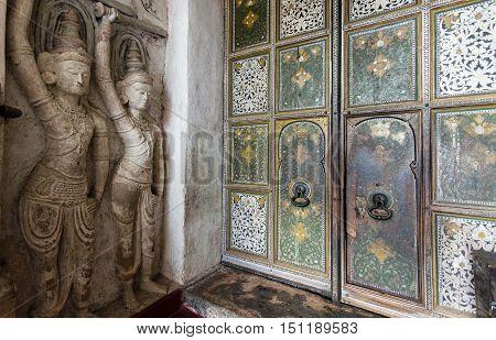 Ornate doorway to the Lankathilaka temple, Kandy, Sri lanka