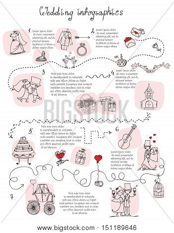 Doodle wedding infographics for invitation cards, including template design