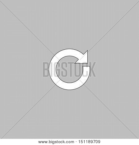 reset Simple line vector button. Thin line illustration icon. White outline symbol on grey background
