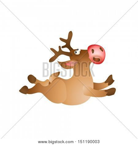Happy Christmas reindeer jump on white background. Cartoon vector illustration