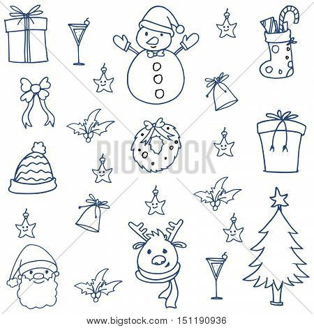 Doodle of christmas set hand draw vector illustration