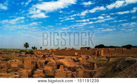 Panorama of partially restored Babylon ruins Hillah Iraq