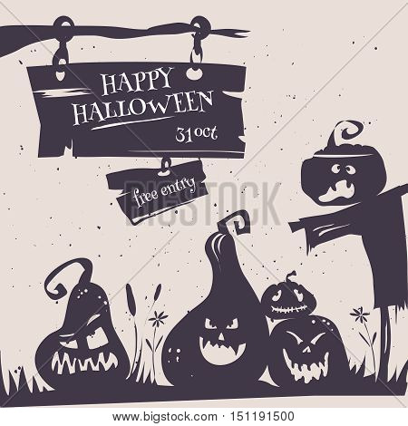 Happy Halloween party poster card. Vector illustration flyer of happy Halloween party with cartoon pumpkins silhouette and moon in retro stile. Halloween  emblems and labels on white background