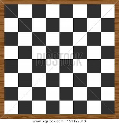 Empty chess board. Wooden chess board. Vector illustration
