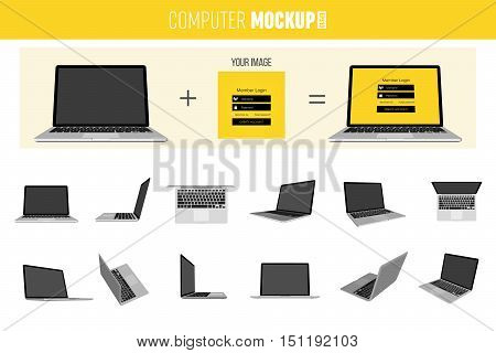 Abstract creative Laptop set. Isolated mockup on background. Isometric 3D style template. For web and mobile app clipart art. Concept idea design element. Vector illustration infographics theme.