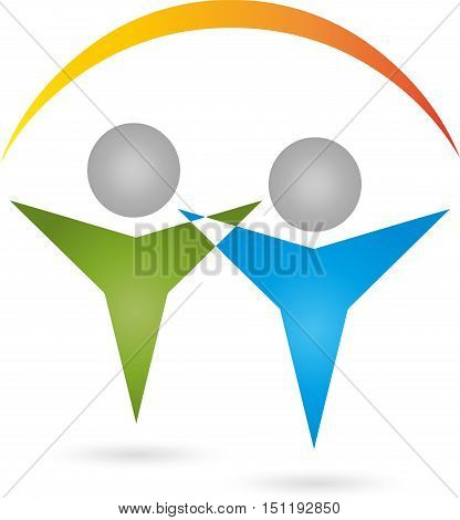 Two People And Sun, Two People, Couple Logo