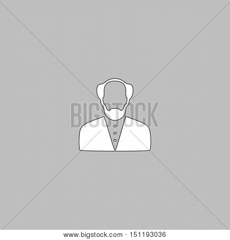 Bald Man Simple line vector button. Thin line illustration icon. White outline symbol on grey background