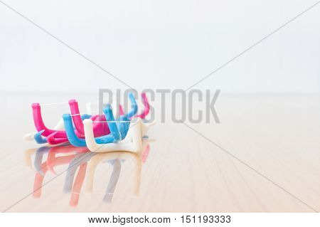Dental Floss On Wooden Background