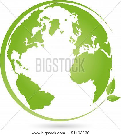 Earth, globe and leaves in green, world globe logo