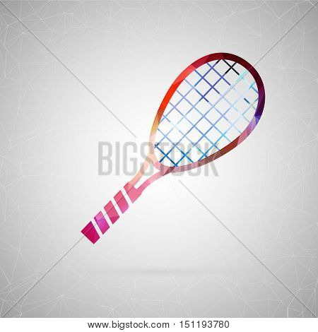 Abstract creative concept vector icon of tennis racket. For web and mobile content isolated on background, unusual template design, flat silhouette object and social media image, triangle art origami.