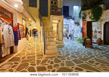 NAXOS, GREECE - SEPTEMBER 23, 2016: Shops in the old town of Naxos on September 23, 2016.