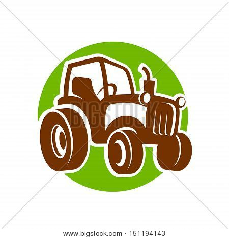 traktor fermer green icon logo vector illustration