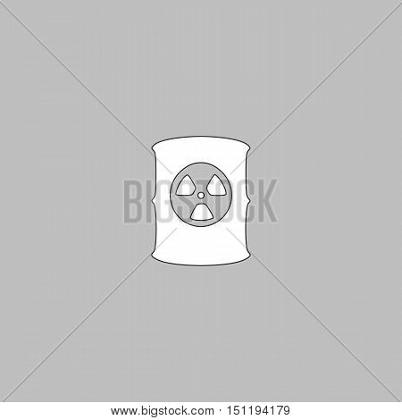 Radioactive waste Simple line vector button. Thin line illustration icon. White outline symbol on grey background