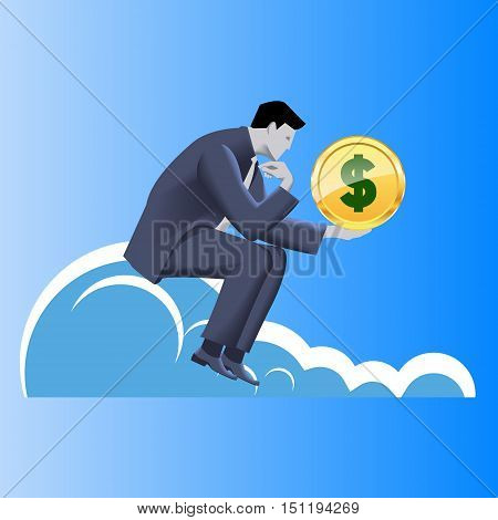 Financial thinking business concept. Pensive businessman in business suit with dollar sign in his hand sitting on the cloud thinking about profits and financial success