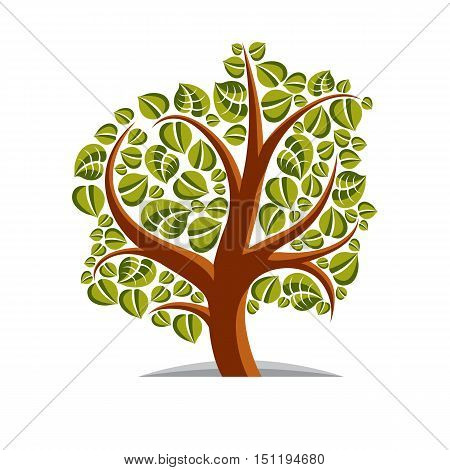 Art Vector Illustration Of Tree With Green Leaves, Spring Season, Can Be Used As Symbol On Ecology T