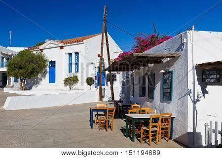 FOLEGANDROS, GREECE - SEPTEMBER 24, 2016: Restaurant in the main square of Folegandros village on September 24.