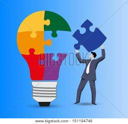 Last part of the solution business concept. Confident businessman in business suit with piece of puzzle in his hand going to finish with this piece light bulb puzzle. Concept of solution, idea born.