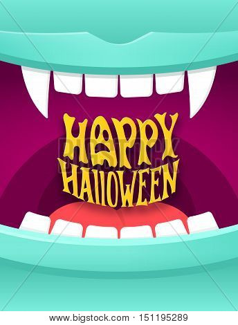 Happy Halloween cute cartoon illustration with open vampire mouth and modern typography. Halloween party poster vector background