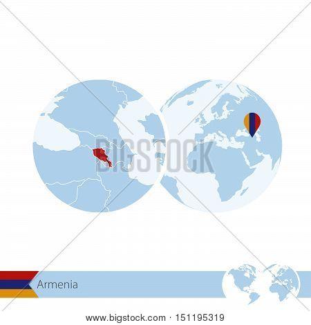 Armenia On World Globe With Flag And Regional Map Of Armenia.