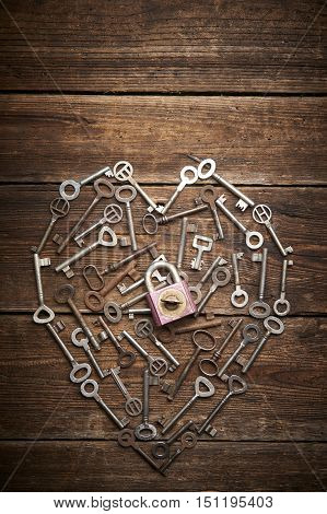 Valentine heart from different old keys, the concept of love