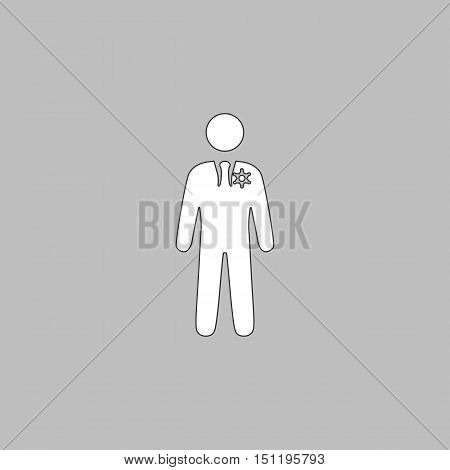 ranger Simple line vector button. Thin line illustration icon. White outline symbol on grey background
