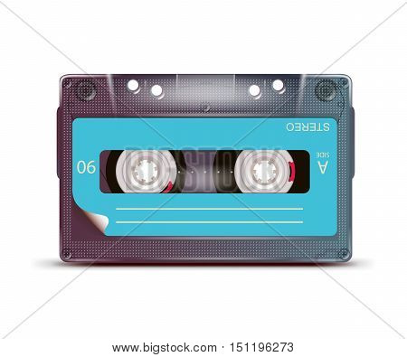 music audio tape casette isolated on white background . Vector illustration