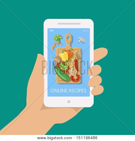 Online recipe on mobile phone illustration. Internet web cooking site or app on a smartphone screen