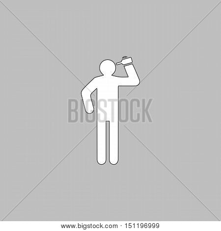 drunkard Simple line vector button. Thin line illustration icon. White outline symbol on grey background
