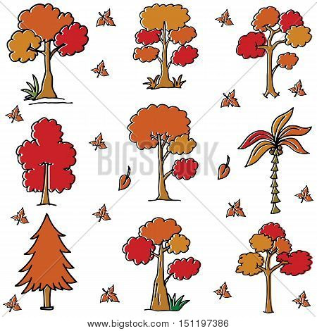 Tree style collection in doodles vector art