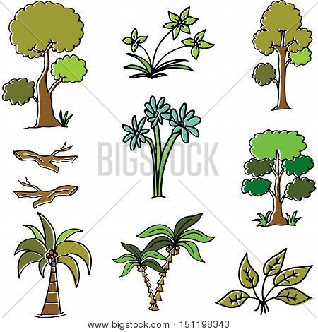 Vector art illustration of tree different collection