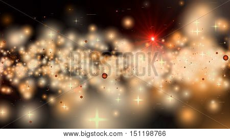 Golden fantasy stars and planets in deep space. 3D rendering.