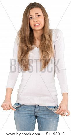 Worried Young Woman with Empty Pockets - Isolated