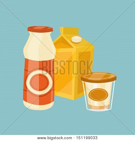 Assortment of dairy products isolated vector illustration. Nutritious and healthy milk products. Natural and healthy food. Organic farmers food. Organic food and dairy product concept. Milk product icon. Cartoon dairy product. Dairy icon.