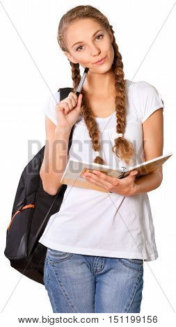 Girl with Rucksack Standing and Holding Note Pad - Isolated