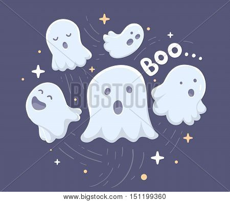 Vector Halloween Illustration Of Many White Flying Ghosts With Eyes, Mouths On Dark Blue Background