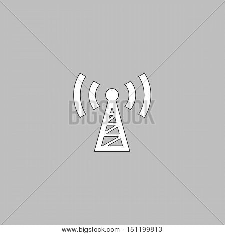 Transmitter Simple line vector button. Thin line illustration icon. White outline symbol on grey background