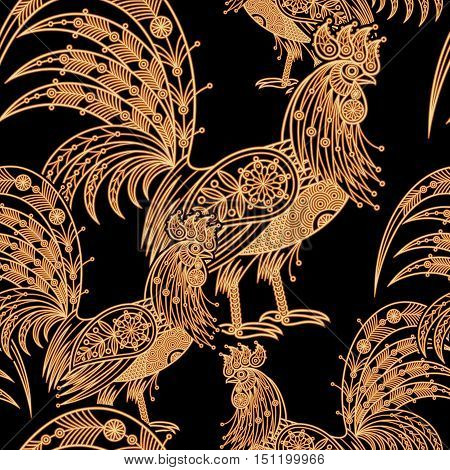 Fire roosters. Illustration seamless vector pattern. Golden bird on black background. Foil printing. Decorative illustration for paper fabrics packaging of Christmas gifts for new year 2017.
