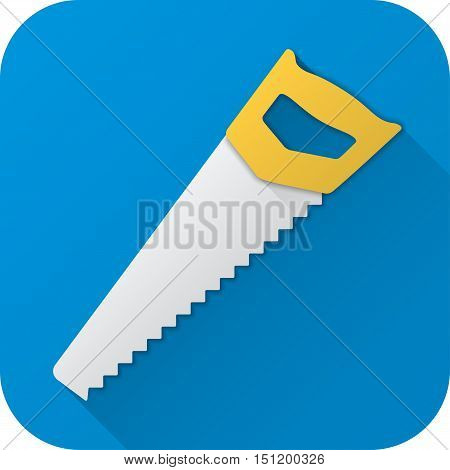 Vector illustration. Toy saw in flat design with long shadow. Square shape icon in simple design. Icon vector size 1024 corner radius 180