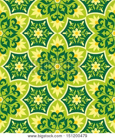 Arabesque. Green Pattern in Moorish style. Arab seamless texture. Element of design. Islamic  background. Oriental ornament