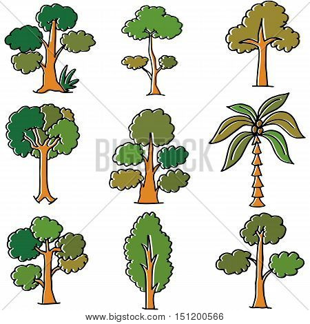 Doodle of tree style nature vector art