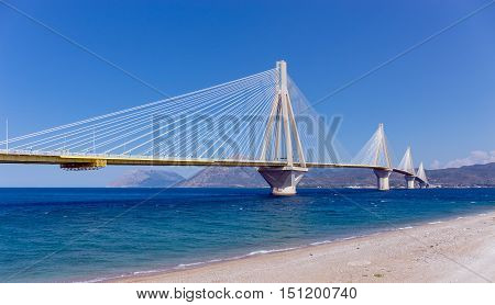 Charilaos Trikoupis bridge, the longest cable stayed suspended deck bridge in the world, Peloponnese, Greece