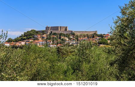 distant view on Chlemoutsi fortress, Peloponnese, Greece