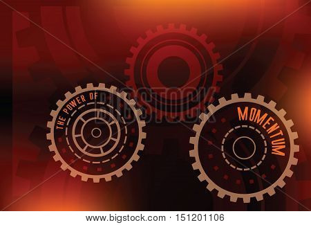 abstract gears with letters the power of momentum technical futuristic red and orange dark colors vector background