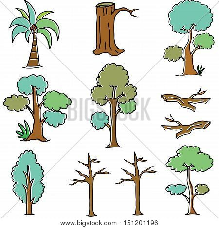 Doodle of tree vector art collection stock