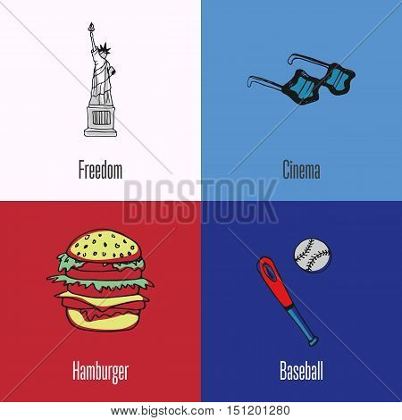 American national cultural, political, culinary, sports symbols. Statue of Liberty, star sunglasses, hamburger, baseball bat with ball icons with caption vector illustrations on colored backgrounds
